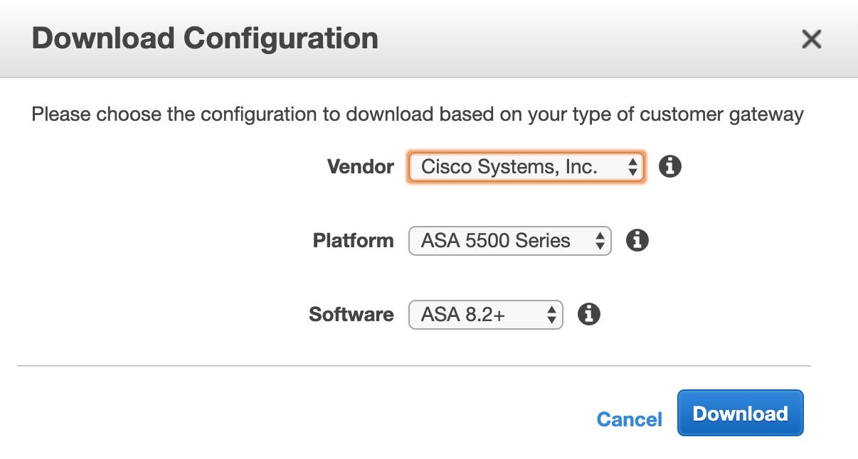 AWS VPN Config for Cisco ASA/ASAv
