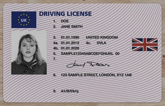 Sample UK Licence