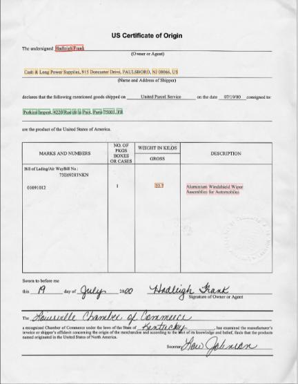 Certificate of origin key data extraction