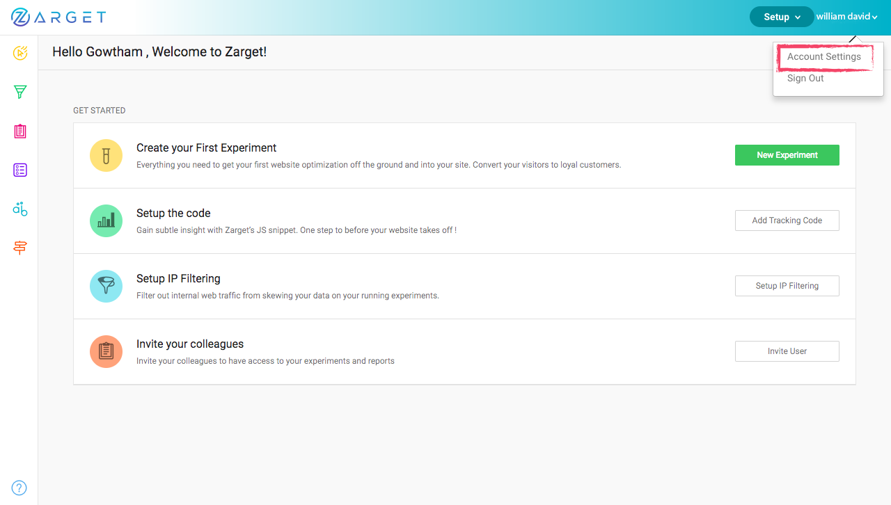 Account Settings in Zarget Dashboard