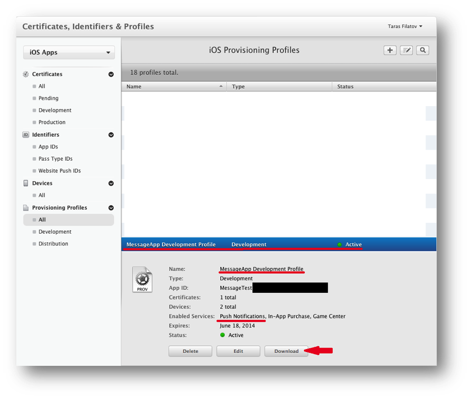 Alternative download process for provisioning profile