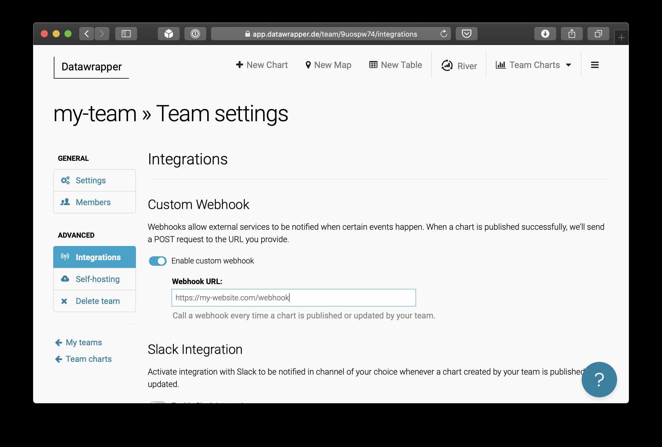 Team settings UI with webhook configuration