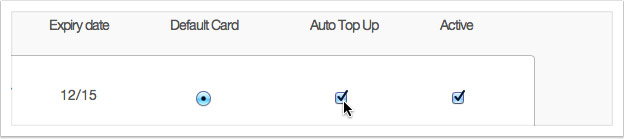 Tick the checkbox in the 'Auto Top Up' column