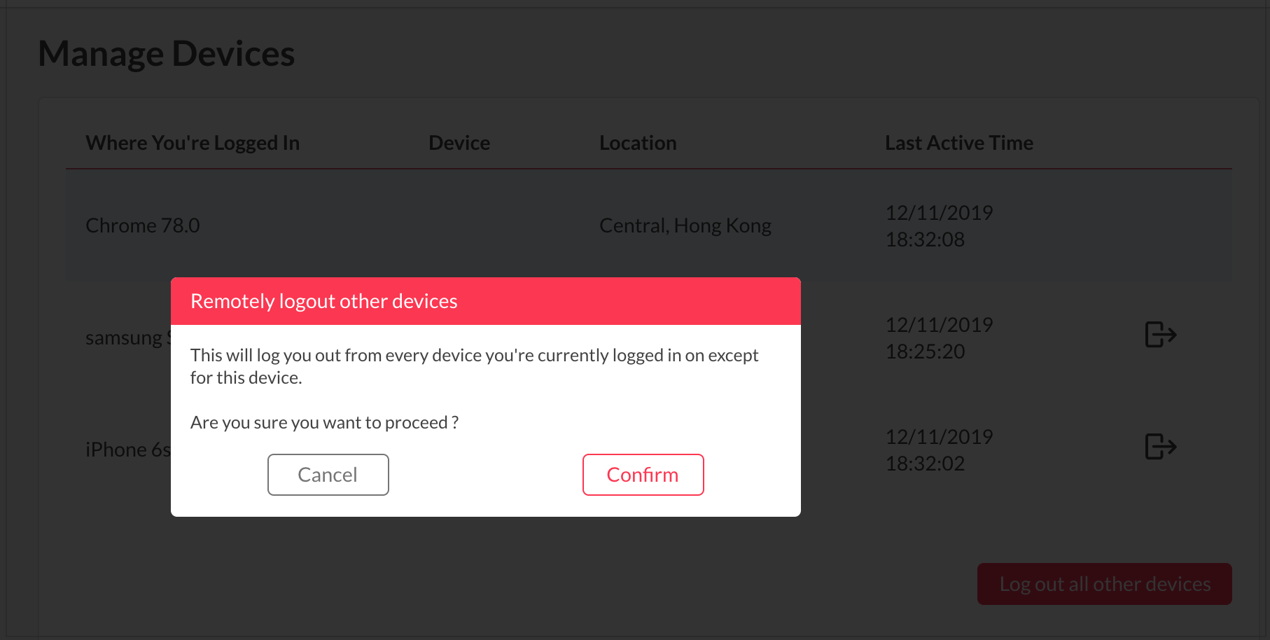 Logout All Other Devices