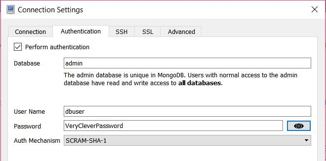 MongoDB GUI - Robo 3T Connection