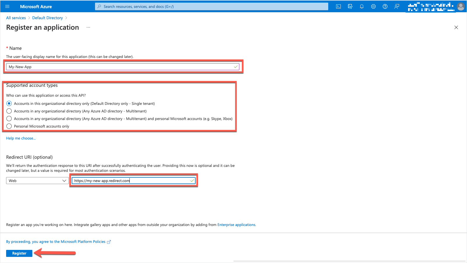 Azure Portal - Register an application