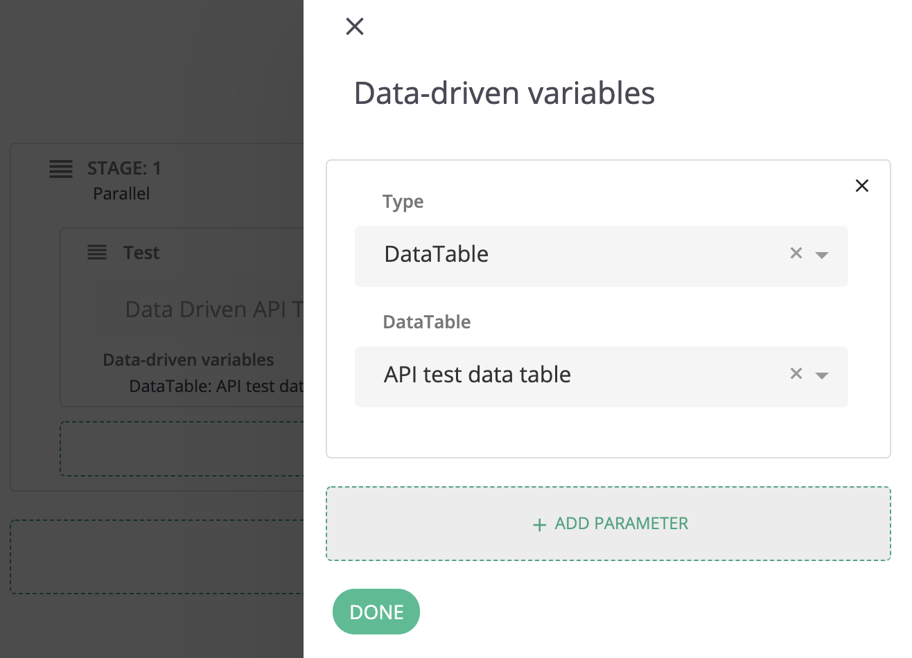 Setting one specific DataTable to use for the test