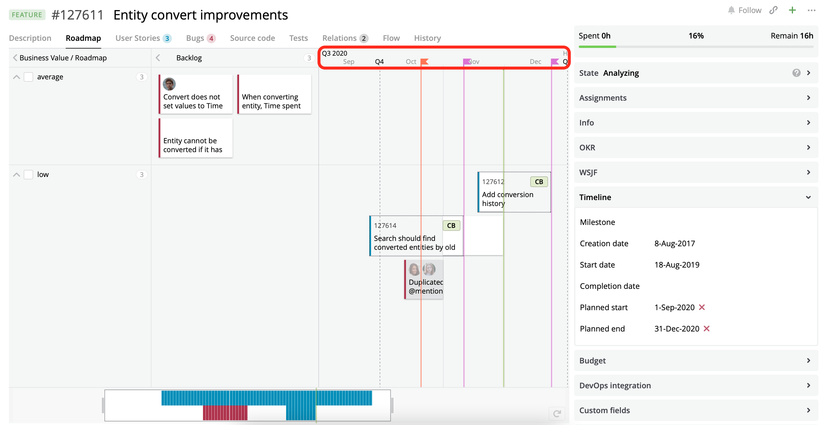 A Roadmap view with two customized sources of Milestones.