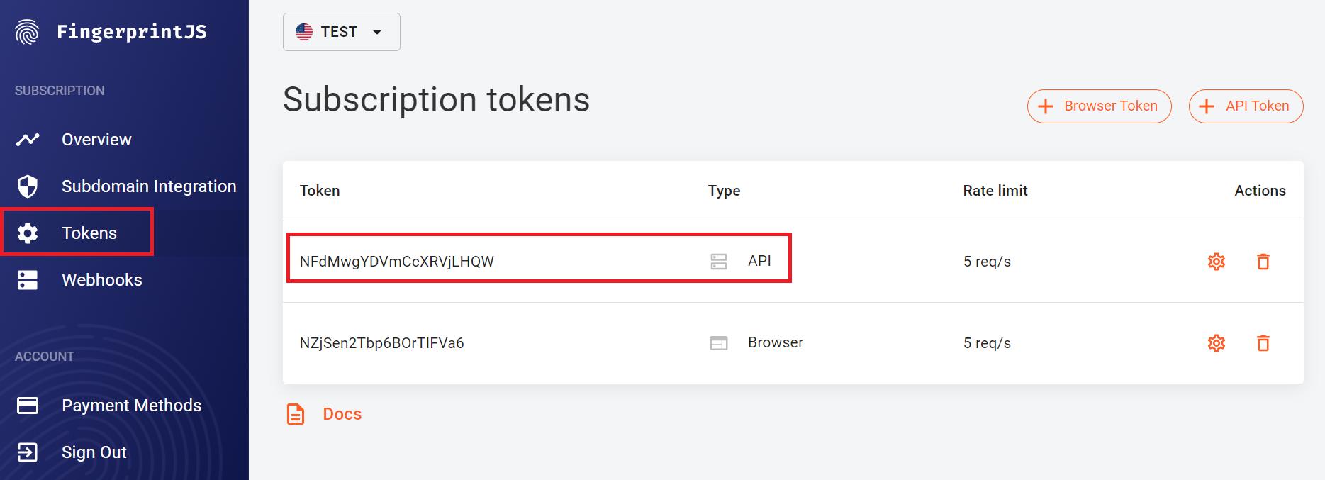 Screenshot of subscription tokens in the FingerprintJS dashboard