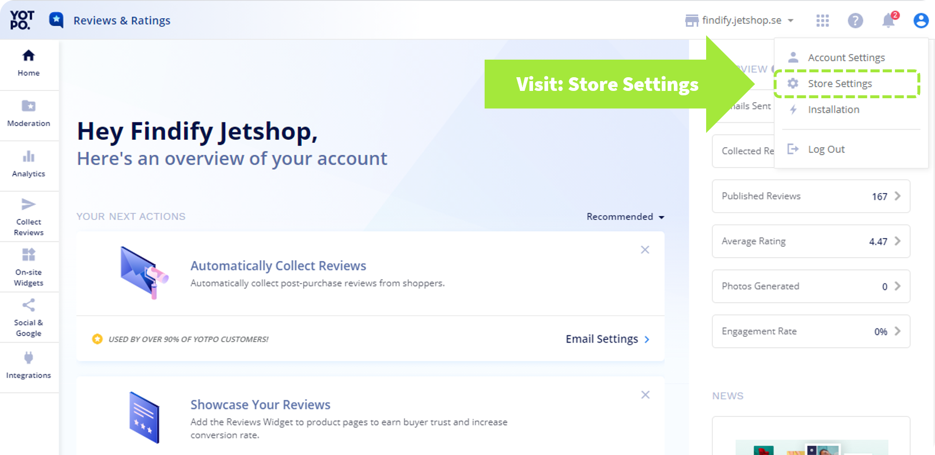 Store Settings in the Yotpo Dashboard