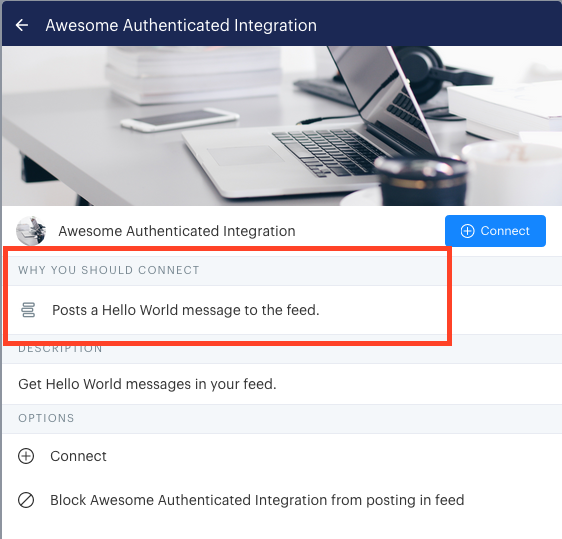 How this field is displayed to users when viewing the integration on the manage integrations page.