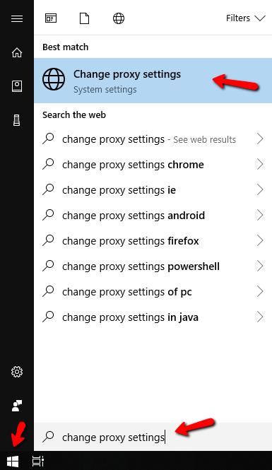windows proxy setup - change proxy settings