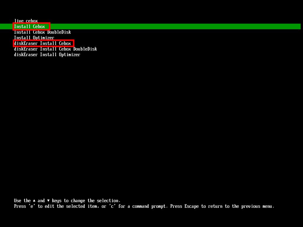 """Si le disque de l'ordinateur est vierge utiliser """"Install ceBox"""". Si il y a déjà eu l'installation d'un OS sur votre disque choisir """"diskErazer Install Cebox""""."""