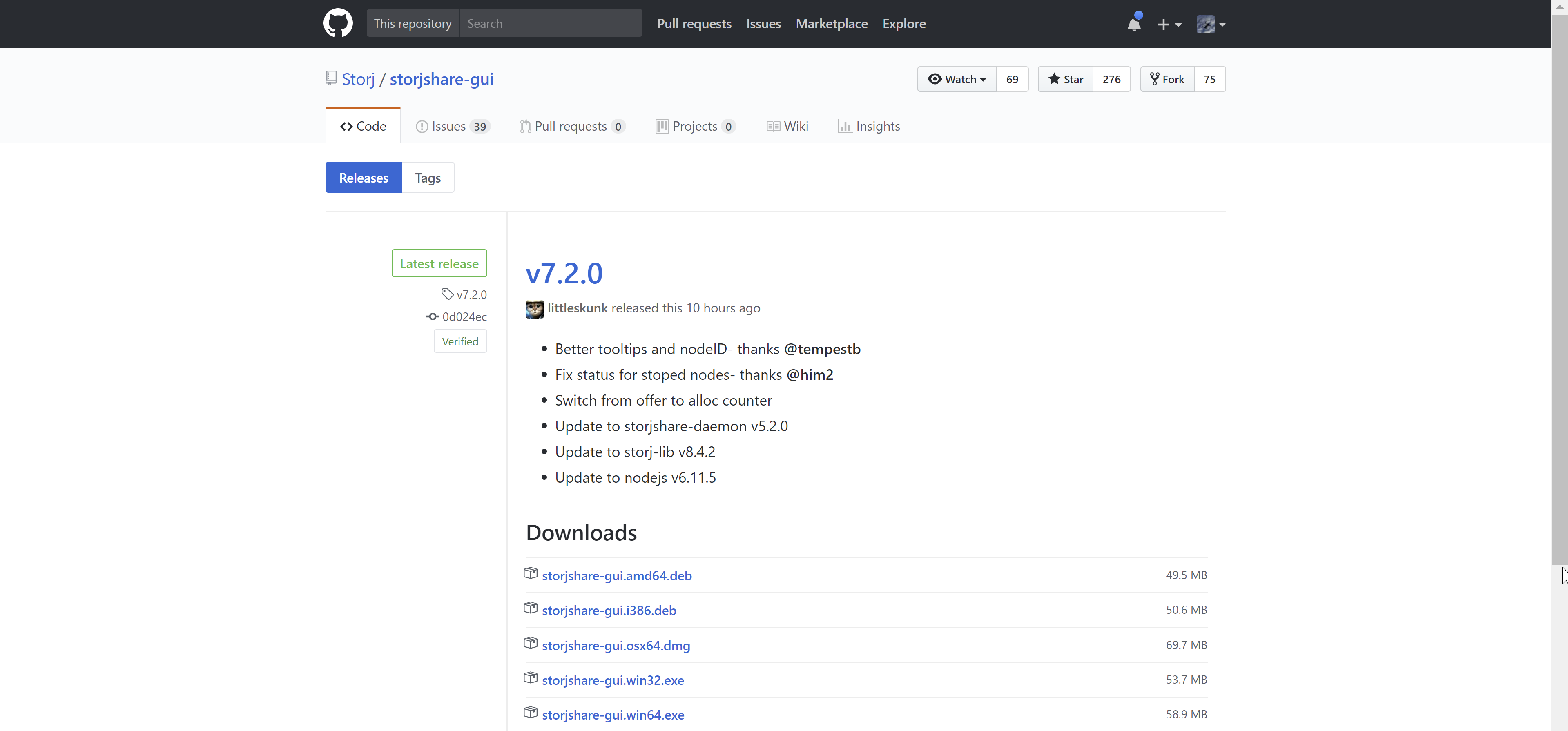 Figure 3.2. Github Storj Share GUI download page.