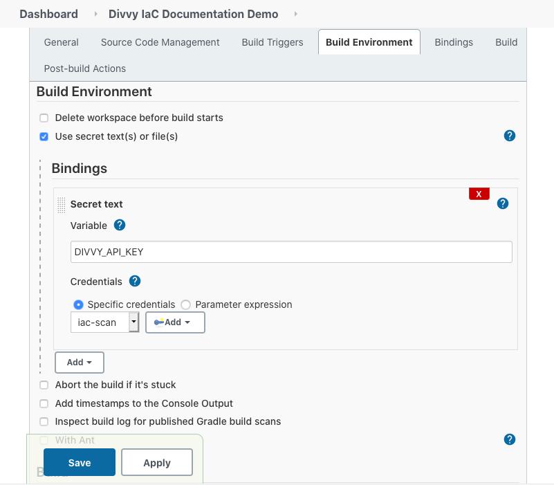 Jenkins Build Environment Bindings