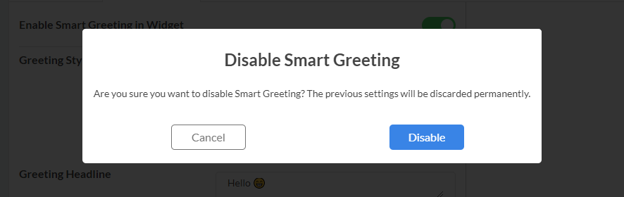 Disable Smart Greeting confirmation