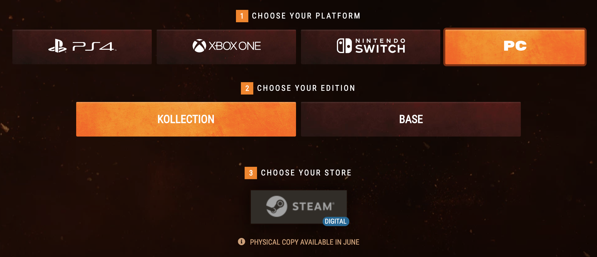 Example storefront selection flow for Mortal Kombat