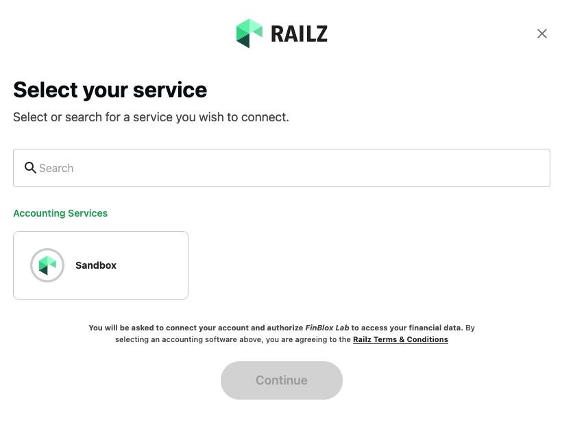 Railz Connect - Sandbox View. Click to Expand.