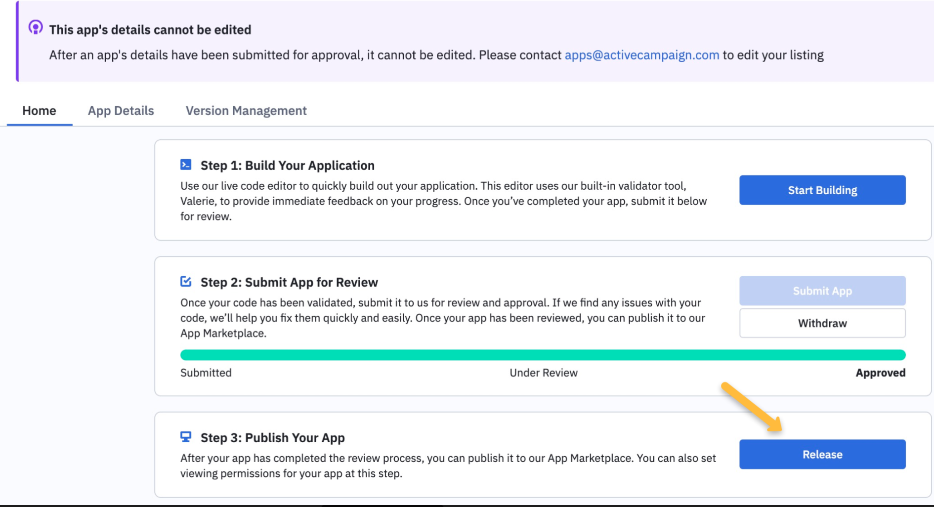 After review and approval, you must click the Release button to publish the app.