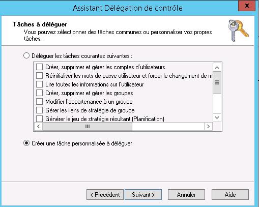 """Choisissez """"Créer une tâche personnalisée à déléguer"""" ; puis cliquez sur """"Suivant"""""""