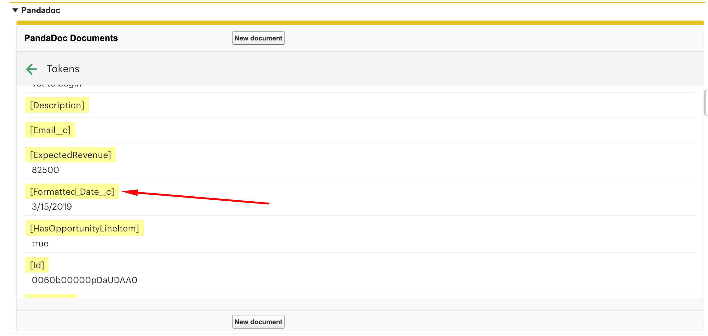 Format Salesforce Date Token