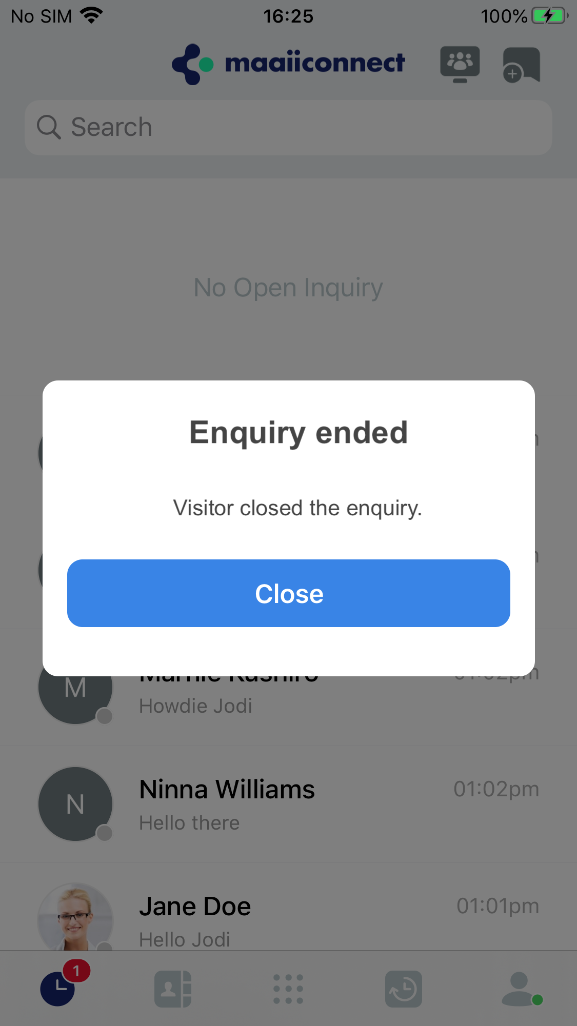 Visitor closes an enquiry