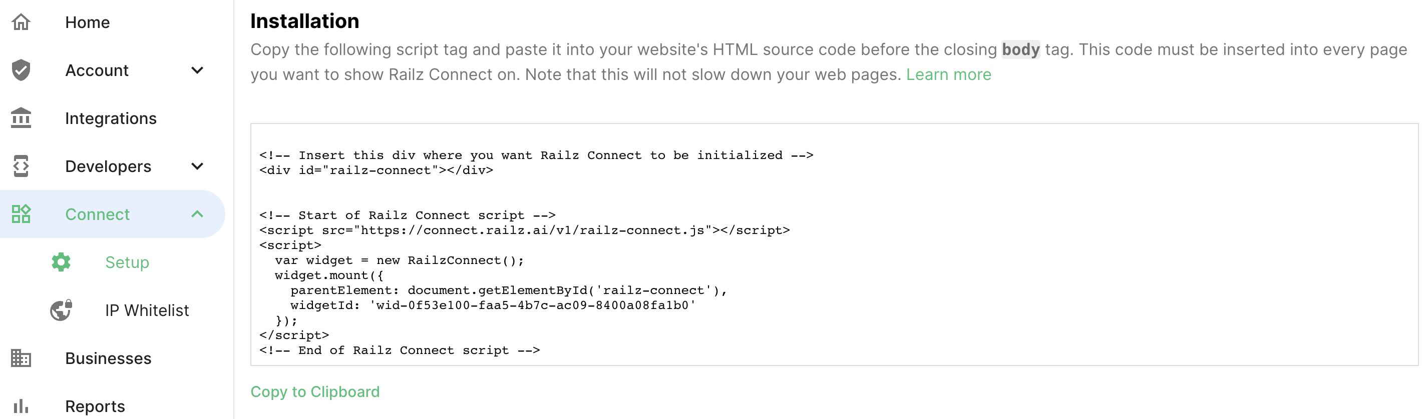 Railz Connect Setup Page. Click to Expand.