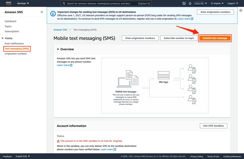 AWS SNS Console - Publish text message