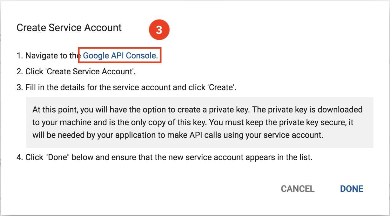 Create new Service Account