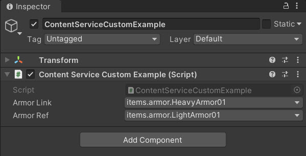 The Example in the Unity Inspector Window