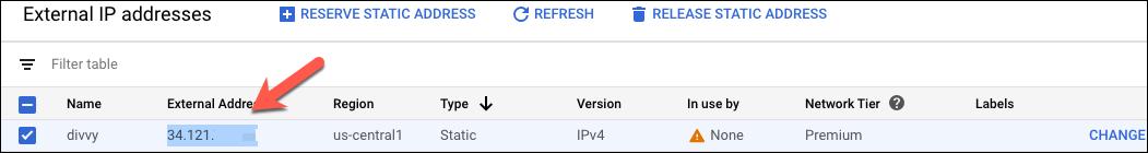 External Static IP
