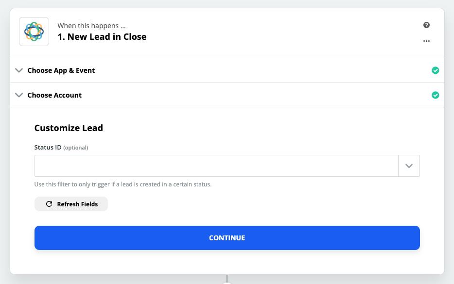 Customizing Lead status in Zapier