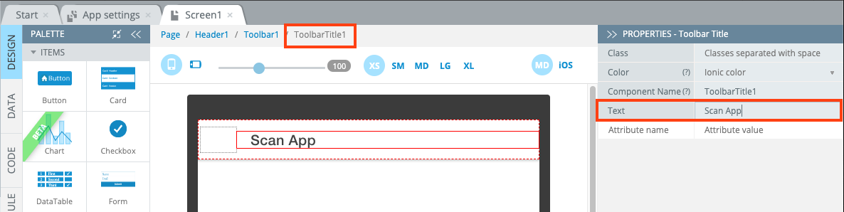 Changing the toolbar title