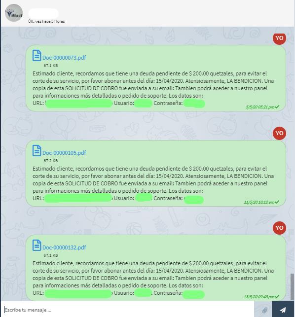 Los avisos de pago al cliente vía Telegram.