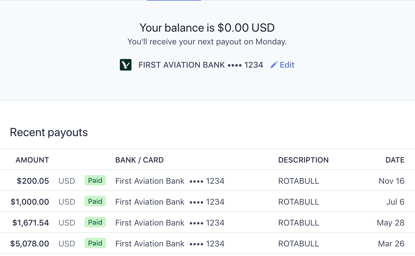 View payout status on your payments dashboard.