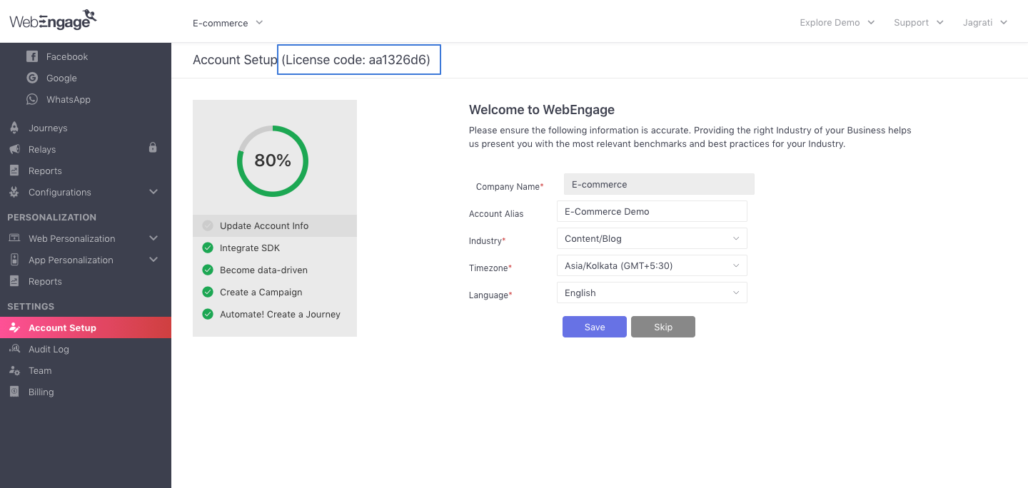 Locating license code in your WebEngage account