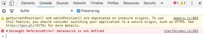 JavaScript error.