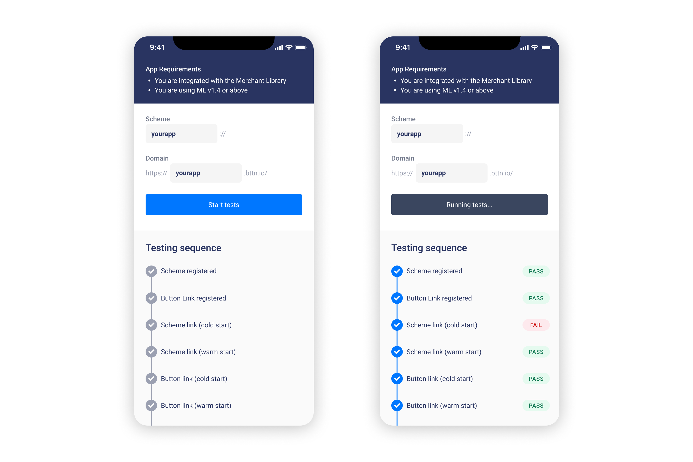 The Button Test Helper App will automate running many of the tests required to verify your integration.
