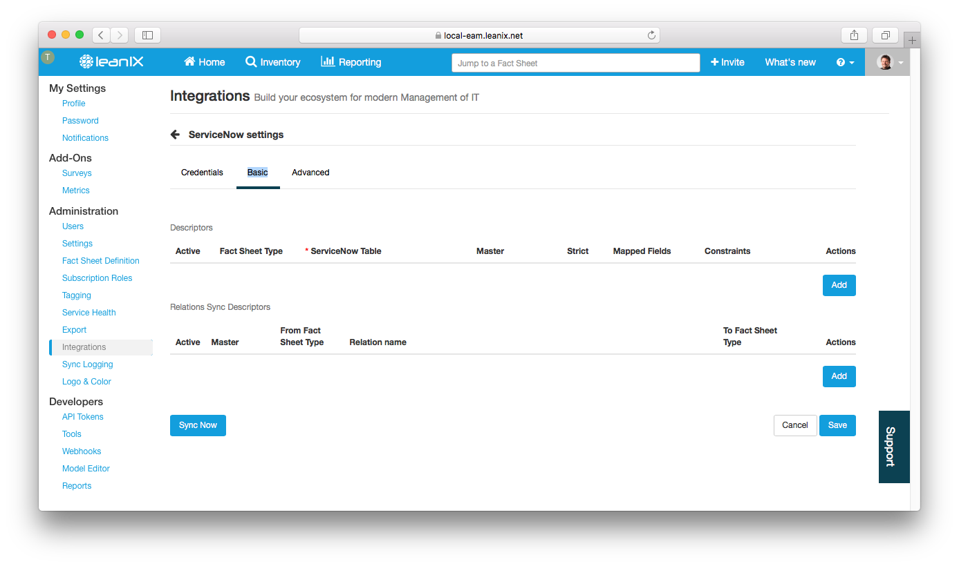 LeanIX ServiceNow integration, empty Basic page