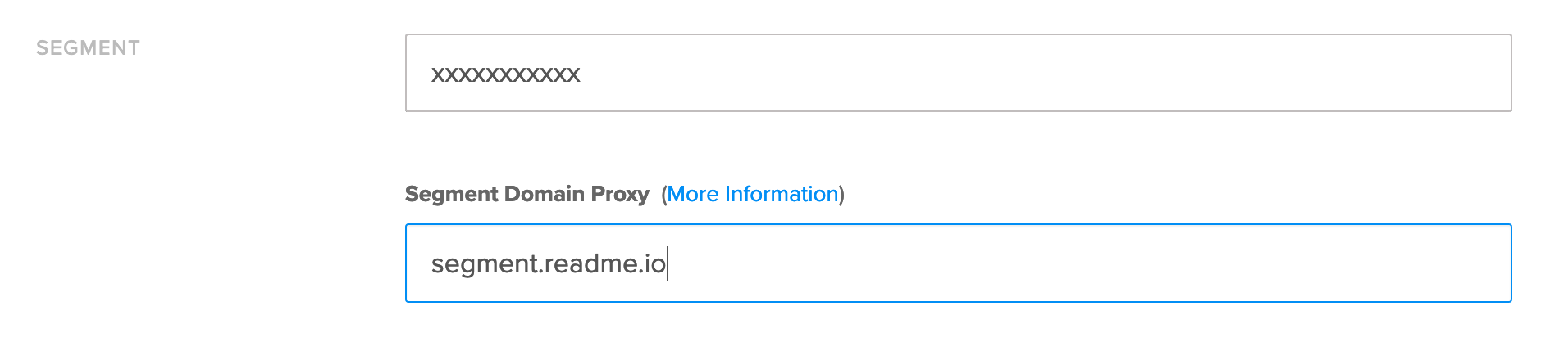 Set your custom domain in the ReadMe Segment configuration on the integrations page.