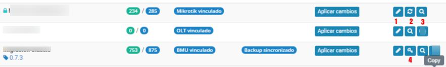 Vista de funciones de servidores.