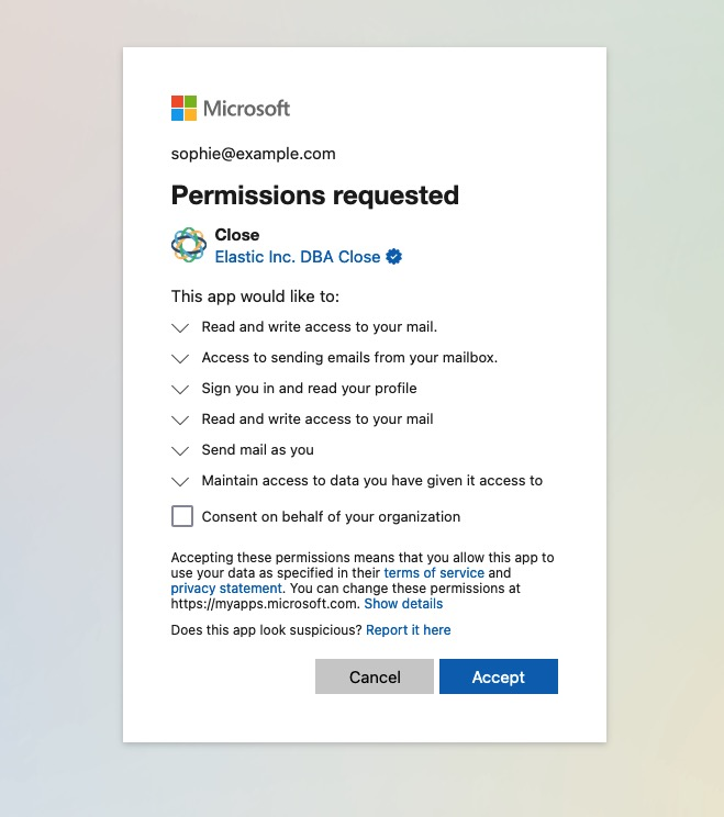 Allowing access to your Microsoft account