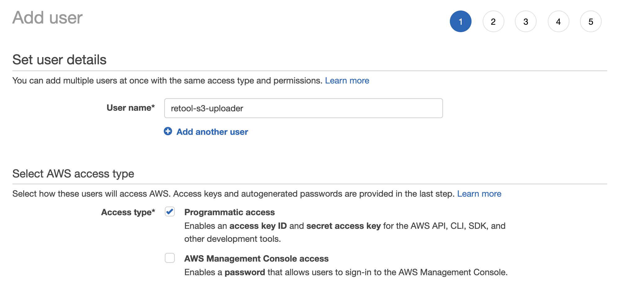 Step 1—Create an IAM user and set the access type.