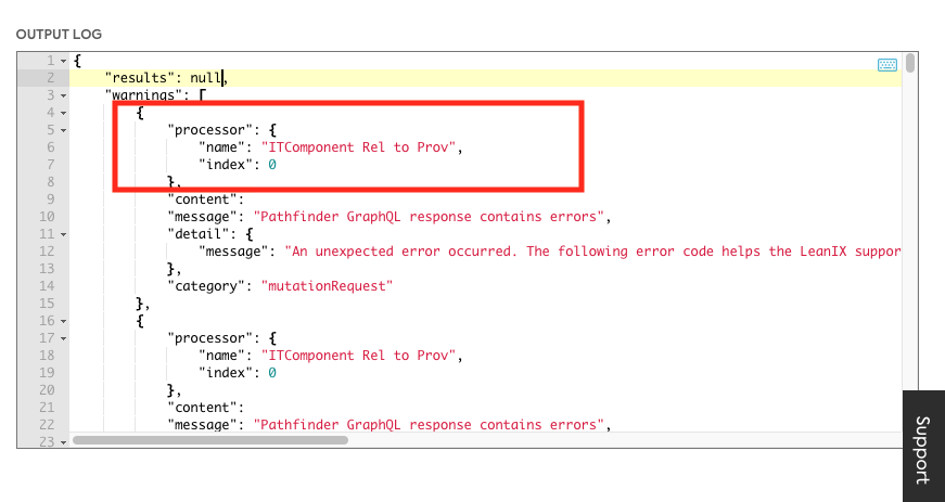 """An example of a warnings which contains the """"processor name"""" and index. The processor name and index are also included when the logLevel is set to """"debug"""". In which case the debug information is included in the debugInfo section of the output log."""
