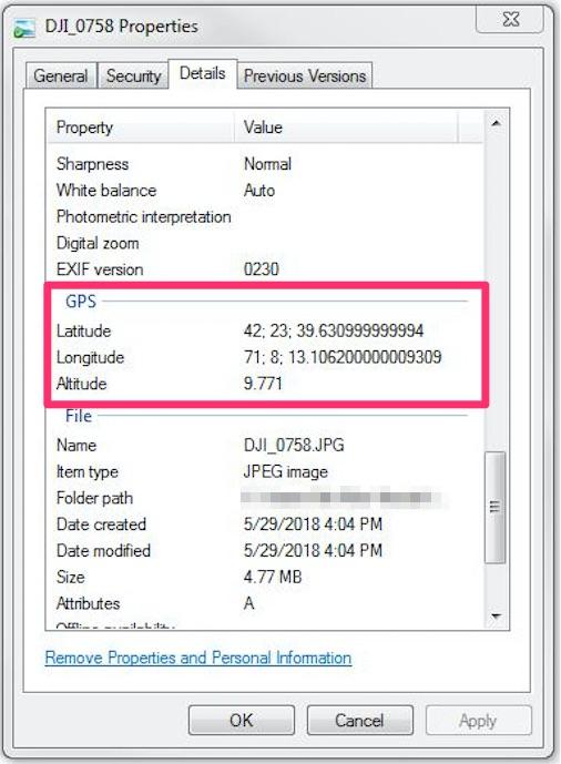 Image properties in Windows