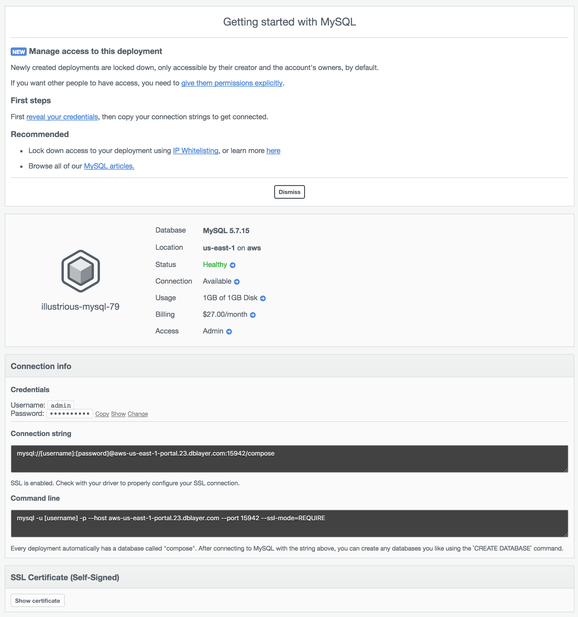 The Deployment Overview page.