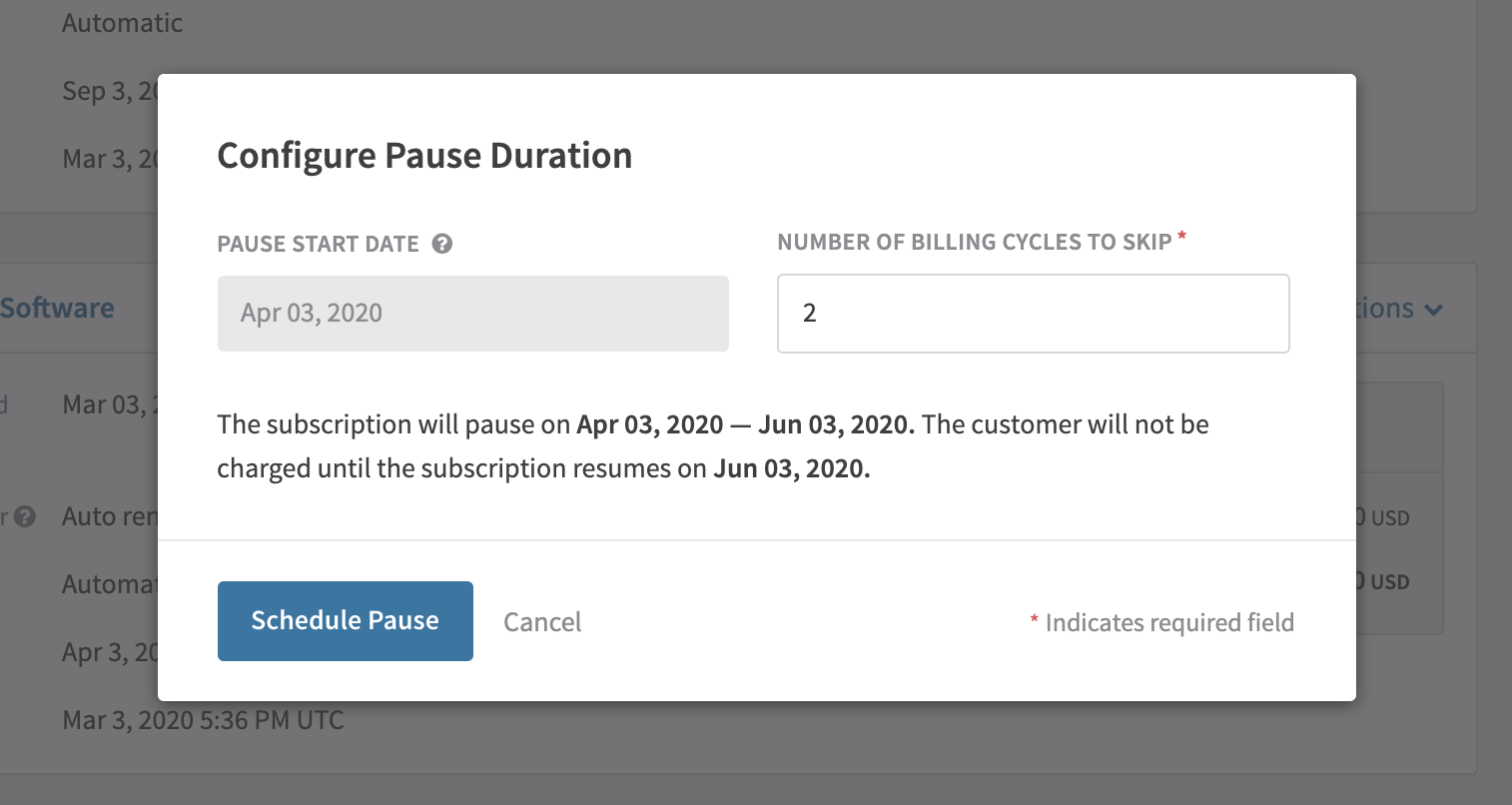 Enter the number of billing cycles you want the subscription to skip and remain paused for.