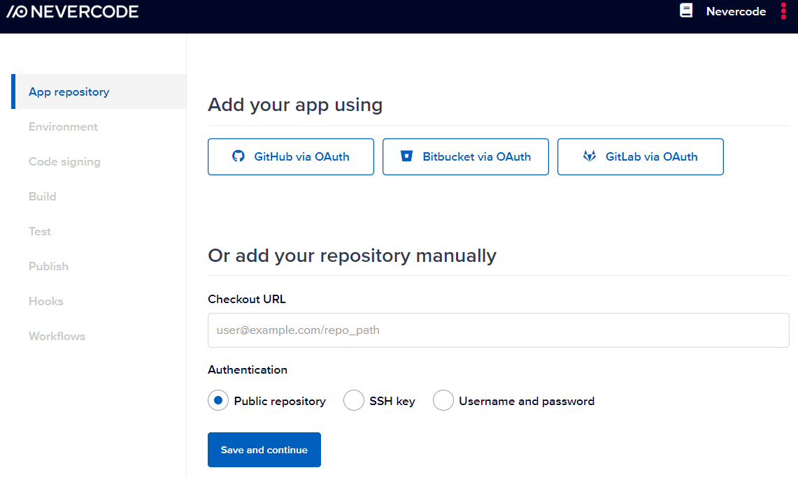 Specifying app repository