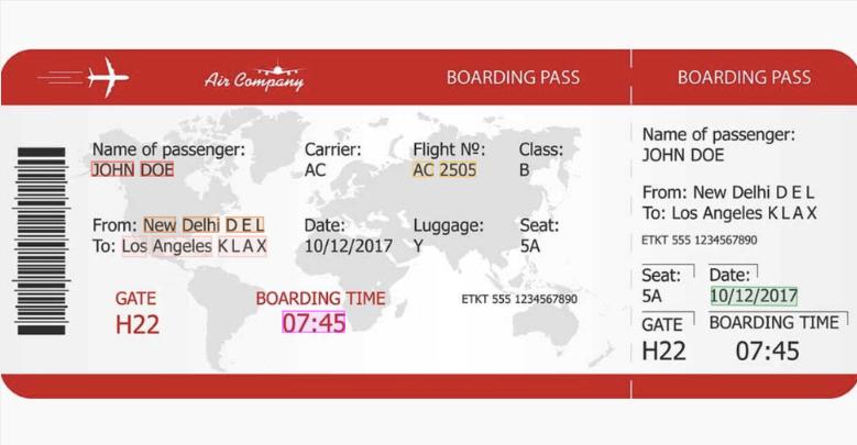 Boarding pass key data extraction