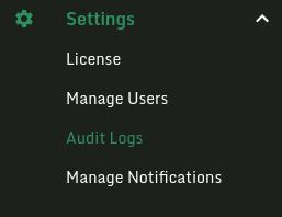 Settings sidebar audit logs.
